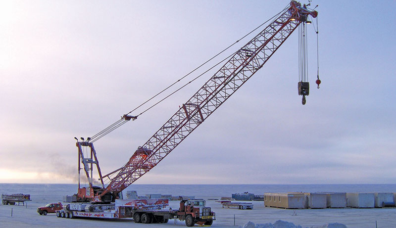 CH2M Alaska Energy & Chemicals moves a Manitowoc crane on the North Slope in Alaska, where it is used to support oil and gas operations.