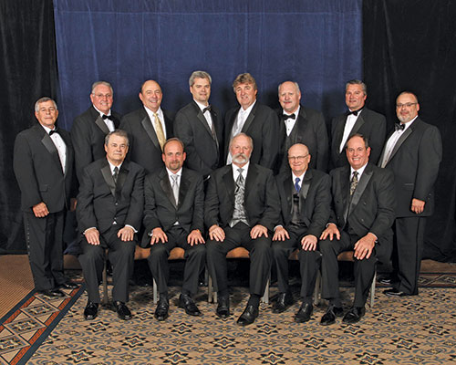 2013 PLCA board of directors. Back row (from left): Bernie Bermack, Jimmy Crotts, Don Thorn, Chris Leines, Dwayne Osadchuk, Brian Ganske, Robert Osborn and Kelly Osborn. Front row (from left): Frank Welch, Dan Murphy, John Allen, Ronnie Wise and Rob Riess. (Photo courtesy of Ben Arnold.)