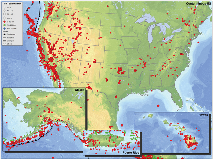 Seismicity of the United States from 1900-2002