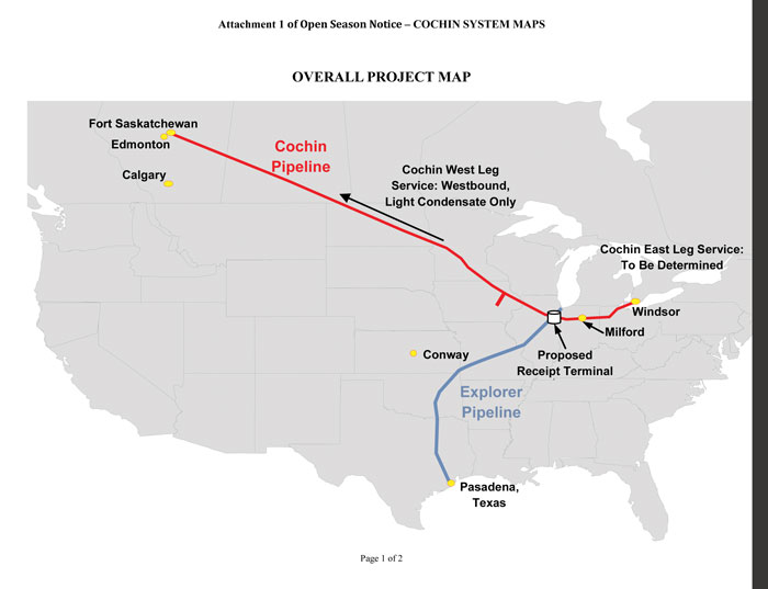 Kinder Morgan plans to reverse flow on the Cochin Pipeline to ship light condensate from East to serve oil producers in the Canadian oil sands.