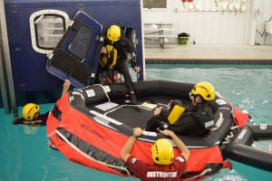 SMS now offers globally recognized, OPITO-approved training courses. Here, students learn survival techniques for emergency helicopter evacuations.